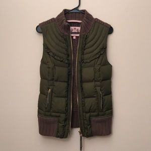 Juicy Couture Olive Puffer Knit Vest